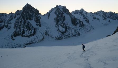 Vincent op de Argentiere Gletsjer